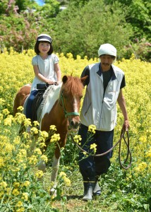 Girl enjoying pony ride.