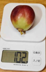 A digital scale with a Tears Red grape shows the berry weighs 102 grams.