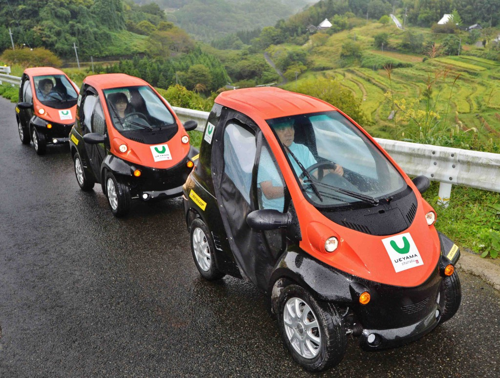 Ultra small electric vehicles introduced to Ueyama village made it easier for villagers to go around and communicate with each other (in Mimasaka city, Okayama Prefecture)