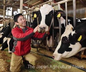 Yasunori Otsuka takes care of his cows in Minamiaso, Kumamoto Prefecture, on April 13.