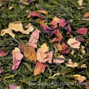"Dried rose petals are blended in Japanese tea leaves for ""Rose"" tea (in Nihonbashi, Tokyo)"