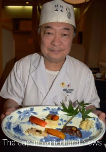 Toshiaki Sekine shows vegetable sushi in Kita Ward in the city of Saitama.