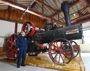 Steam tractor was fueled by coal or wood. This tractor weights 9 tons and could generate 25 horsepower. (in Kamifurano town, Hokkaido)