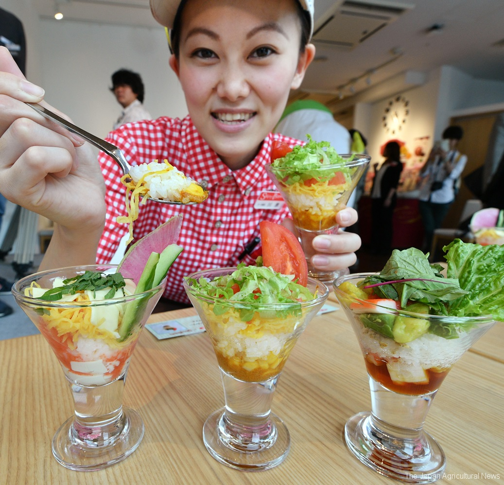 Rice parfait aim at boosting rice consumption (in Shinjuku, Tokyo)