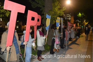 Protestors calling for Japanese government's transparency over TPP trade talks (in Chiyoda ward, Tokyo)