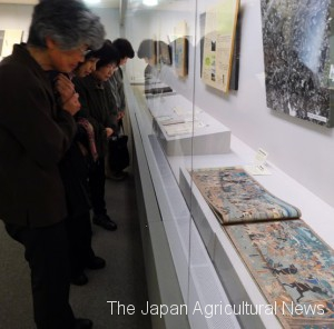 Visitors watching Nishikie (brocade picture), which was used to tell stories to children (provided by Ohara Yugaku Museum)
