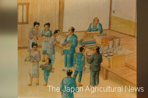 Painting of Shigotowari (work assignment schedule) of March (top) and painting of the villagers to distribute the goods jointly purchased (collection of Yugaku Ohara Memorial, Asahi City, Chiba Prefecture)