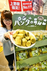 """Panda no Unko (panda poops)"" fugashi snacks introduced by a souvenir shop inside JR Ueno Station (in Taito ward, Tokyo)"