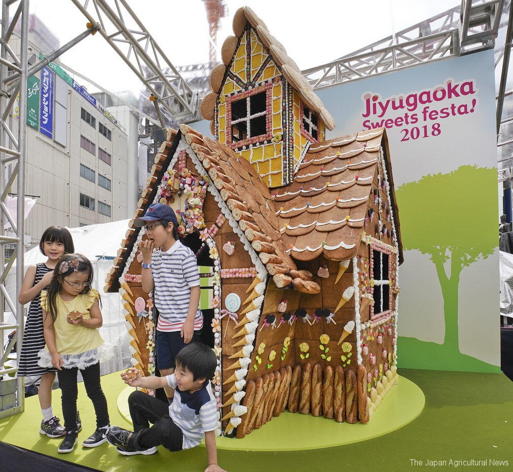 A giant gingerbread house has been built in front of Jiyugaoka Station.