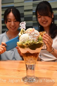 Female college students take pictures of Kyo no Ocha Parfait green tea-based dessert with a smartphone at Kyoto's Sakyo Ward.