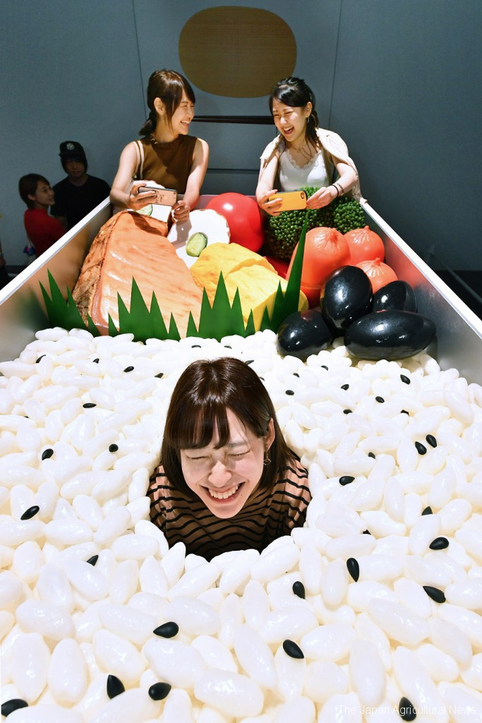 A visitor at Tokyo's Miraikan museum experiences what it feels like being umeboshi, a Japanese salt plum, in a bento box.