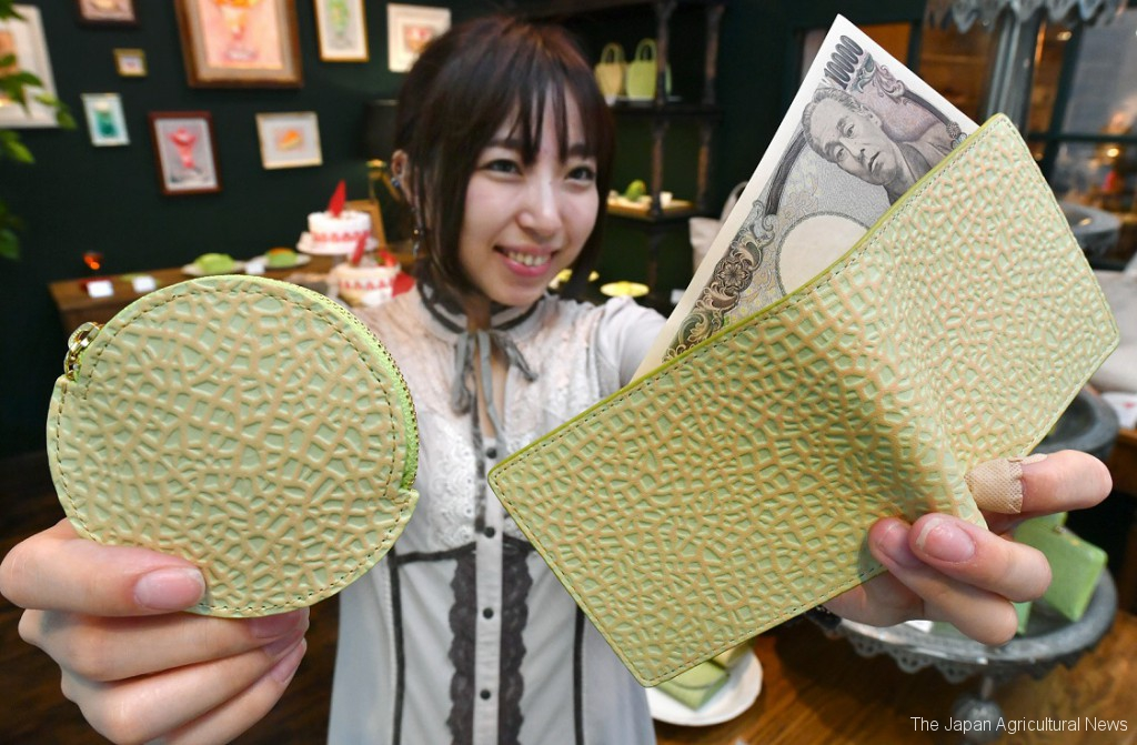 A coin case and a wallet made from cow leather looking like the skin of Shizuoka crown melons