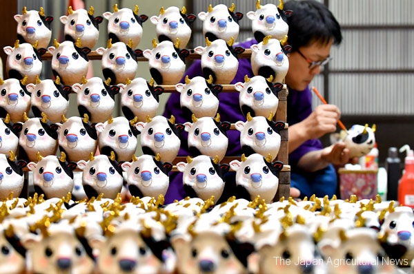 Arai Darumaya is now busy making the good luck charms for 2021. This year, it's making ox-shaped daruma. (In Hiratsuka City, Kanagawa Prefecture)