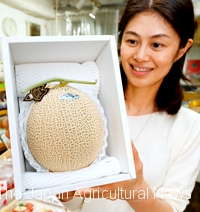 A crown melon from Shizuoka Prefecture is one of the most popular prizes. (In Taito Ward, Tokyo)